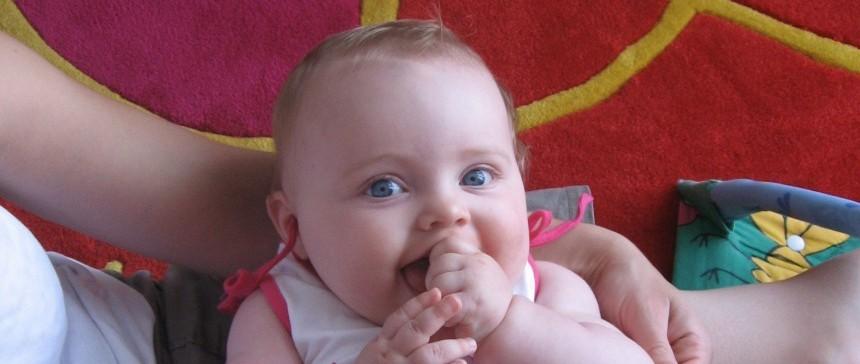 Blue-eyed French baby girl
